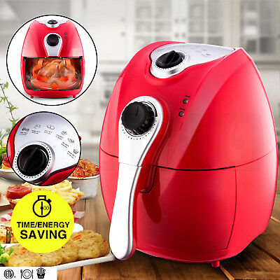 New Red Electric Air Fryer Timer & Temperature Control No-Oil Healthy Less-Fat
