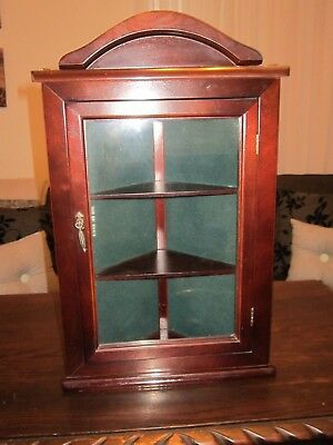 Vintage Style Collectable Small Corner Curio Cabinet With 3 Shelves