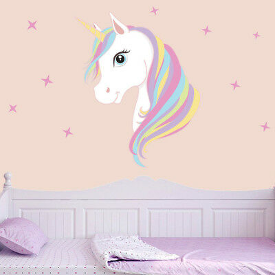 Cute Unicorn & Bling Stars Wall Decal Art Stickers Vinyl Home Room Decoration