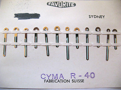 Cyma  R-40 Lot X 6 Pairs Of Swiss Made Replacement Hands On 1 Card