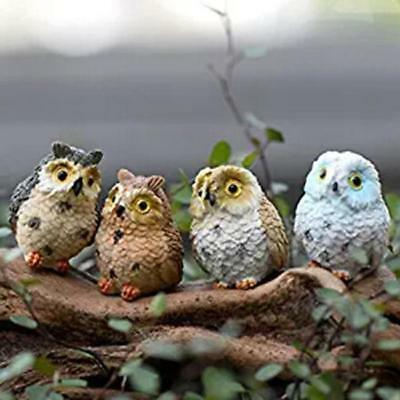 Owl Birds Figurines Set Of 4 Small Sculpture Home Decor Collectibles LJ