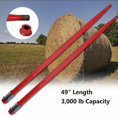 "Two 49"" 3000 lbs Hay Bale Spears W/ Nut Sleeve Spike Fork Tine red pair Conus 2"