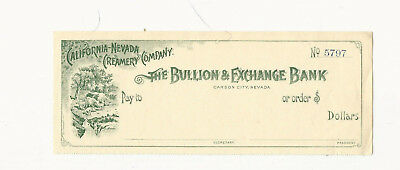 Vintage Unused Bank Check California Nevada Creamery Company Carson City Nevada