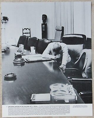11x14 Photo President Lyndon Johnson listing to taped account of the Vietnam War