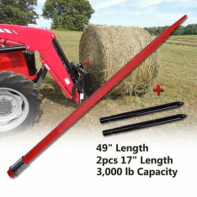 """49"""" Square Hay Bale Spear 3000lbs & 2x17"""" Stabilizer Spears Bale Spike Fork Tine"""