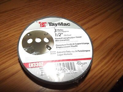 "16 TAYMAC LV330Z Bronze Round Wet Location 3 Hole 1/2"" Lampholder Cover"