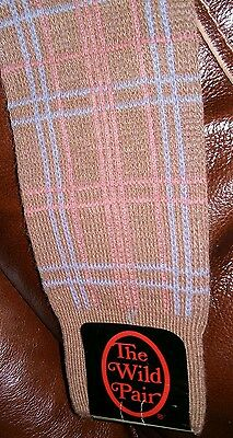 NWT Vintage 70's The Wild Pair Mens Socks 10 13 Nylon Acrylic Pink Blue  UNUSED