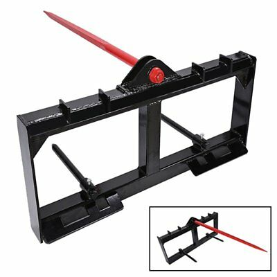 """HD Frame, 49"""" Tractor Hay Spear & 2 Stabilizers Skid Steer 3000lb Capacity"""