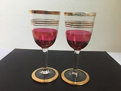 Pair Of Beautiful Vintage 1930s Art Deco Cranberry Glass Sherry Port Glasses