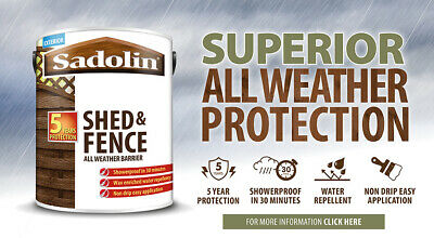 5lt Sadolin Shed & Fence All Weather Treatment Paint Red Brown Grey Black Ebony