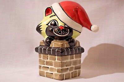 Lorna Bailey –  Cat in a chimney, with a santa hat