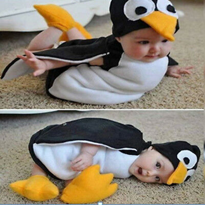 Baby Infant Toddler Kids Cosplay Penguin Costume Suit Photography Romper + Shoes