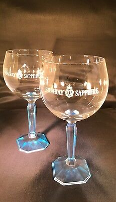 BOMBAY SAPPHIRE GIN BLUE TINTED BALLOON GLASS x 2 (TWO) -  RITZENHOFF CRISTAL