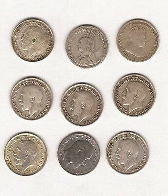 Gb Nine Silver 3 Pence Coins Dated From 1892 To 1922