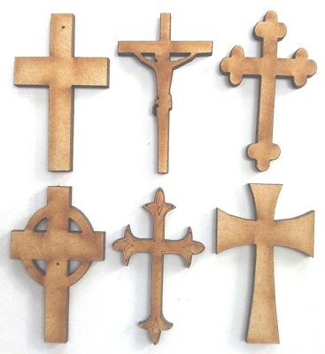 10x WOODEN CROSS SHAPES 6 designs gift craft embellishment scrapbook card art