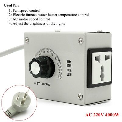 Variable Voltage Controller AC 220V For Fan Speed Motor Temperature Dimmer 4000W