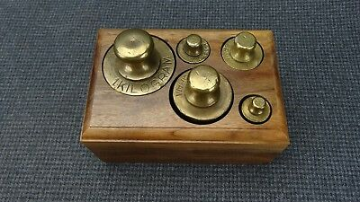 Vintage Set Of 5 Metric Brass Scale Weights