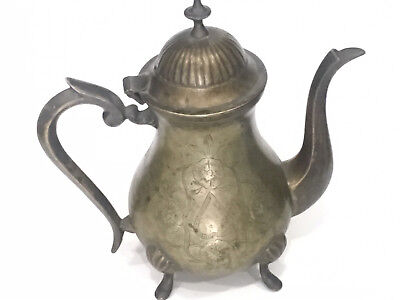 Old Brass Pitcher Tea Coffee Pot Ewer Arabic Turkish Style Middle East