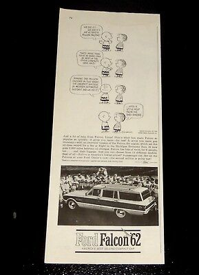 1962 Ford Falcon Squire Wagon Ad With Charlie Brown / Vintage 60S American Retro