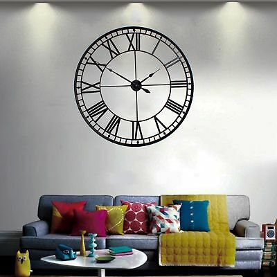 88cm Large Indoor Wall Clock Big Roman Numerals Giant Open Face Metal Sil-304.