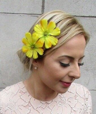 2 x Yellow Daisy Flower Hair Clips Bridesmaid Fascinator Sunflower Festival 5231