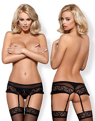 OBSESSIVE 837 Luxury Decorative Suspender Belt and Matching Thong Set