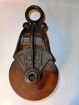 Antique Hudson Wood and Metal/Cast Iron Pulley Barn Rustic Decor