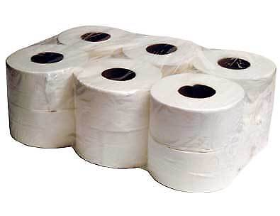Mini Jumbo Toilet Roll - 2 ply white - 150m, 60mm- 150mX76mm - 200x60mm- 200x76m