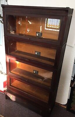 Ca. 1900 The Viking Sectional Bookcase Co. 4 stack barrister w/ lock drawer base