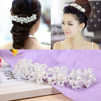 Bridal Wedding Headband Crystal Flower Tiara Crown Pearl Rhinestone Hair  New.