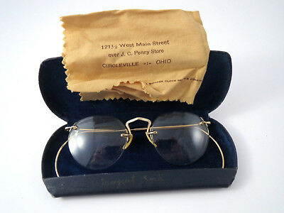 AO 1/10 12K GF Rimless American Optical Antique Spectacles Eyeglasses case Gold
