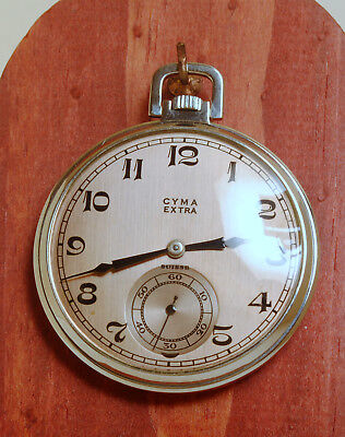1940's VINTAGE CYMA EXTRA ART DECO POCKET WATCH PERFECT WORKING EXCELLENT