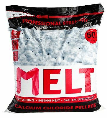 50 lb MELT Professional Strength Calcium Chloride Pellets Ice Melter Re-Sealable