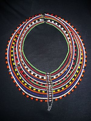 "African Maasai Beaded Necklace (top to bottom about 11""; left to right is 9"")w"