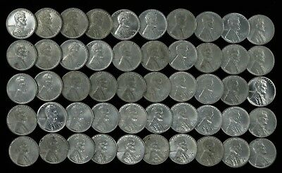 1943 D Lincoln Wheat Cent Steel Choice Au / Au + About Unc Full Roll 50 Coins