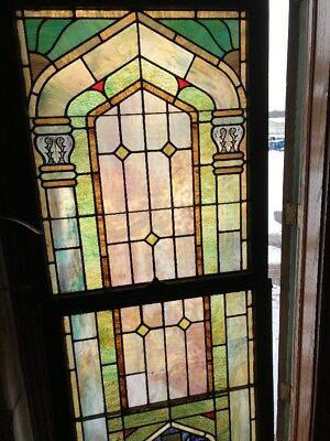 Sg 1866 Antique Stainglass Landing Window 32 X 76 Hi