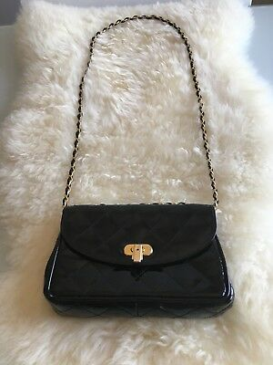 Vintage black quilted patent leather Stefano Bag Made in Italy gold chain