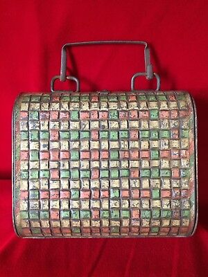 """RARE Antique 1901 Huntley & Palmers Biscuit Tin """"Canteen"""" Weave Purse"""