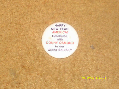 Donny Osmond button--'70's New Year's Eve metal button from 1 of his concerts NM