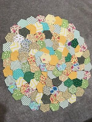 Selection Of Green & Yellow Patchwork Hexagons X 120  Brand New    Ready Tacked