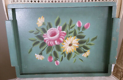 Vintage Pale Green Wood Tole Tray Pink Roses & Yellow Daisies Shabby Chippy Chic
