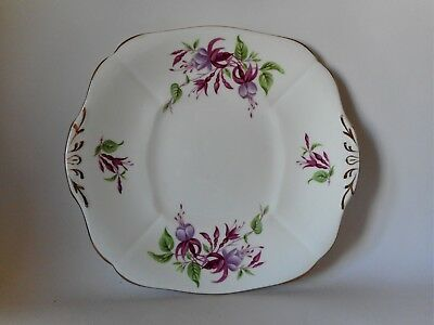 ADDERLEY FUCHSIA CAKE PLATE 250 x 230mm GOOD CONDITION