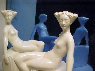 Pair (2) Art Deco Fitz & Floyd Modernistic Nude Lady Ceramic Bookends - 1980's