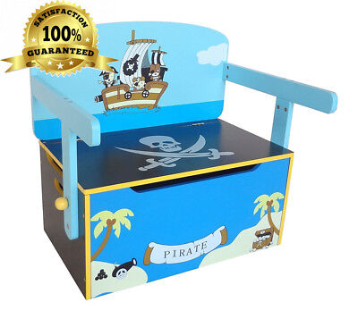 Kiddi Style Children's Pirate Wooden Convertible Toy Box, 63 x 34 57 cm