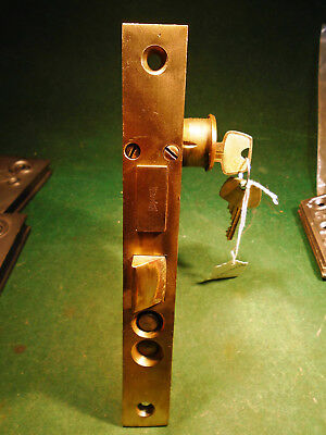 "VINTAGE RUSSWIN HARDWARE ENTRY MORTISE LOCK w/CYLINDER & KEY  7 3/4""  (9780-4)"
