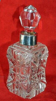Decanter Cut Crystal Scent Bottle With Silver Collar Charles May Birmingham 1887