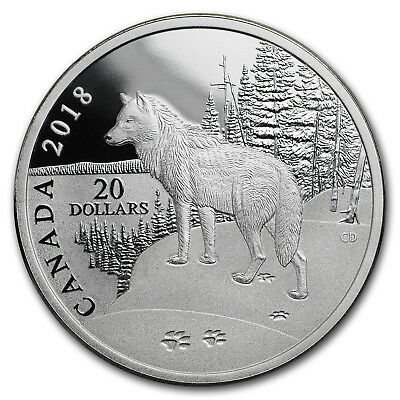 2018 Canada 1 oz Silver Prf $20 Nature's Impressions: Wolf - SKU#161675