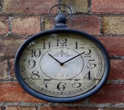 Vintage Style Oval Wall Clock, Antique Black, Shabby Chic Industrial