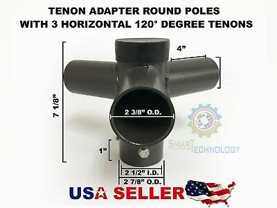 Adapter Round Pole 3 Horizontal 120° Tenon Shoe Box Street Pole Parking Light