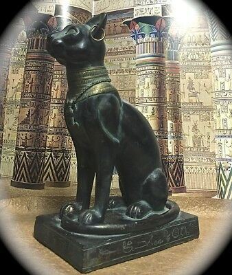 Bast Bastet 'egyptian Cat Goddess' 8 Inch Tall Faux Antique Bronzed Resin Statue